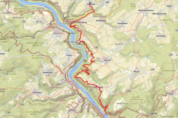 Karte der schönsten Rheinsteigtour